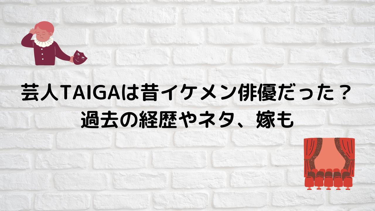 芸人TAIGAは昔イケメン俳優だった? 過去の経歴やネタ、嫁も